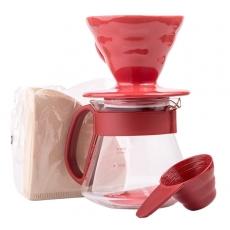Plastikinis komplektas Hario V60-02, raudonas