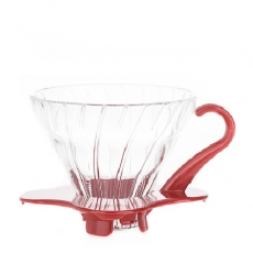 Stiklinis kavinukas Hario Drip V60-01, raudonas