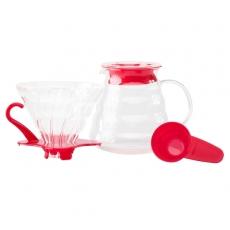Stiklinis komplektas Hario V60-02, raudonas 600ml
